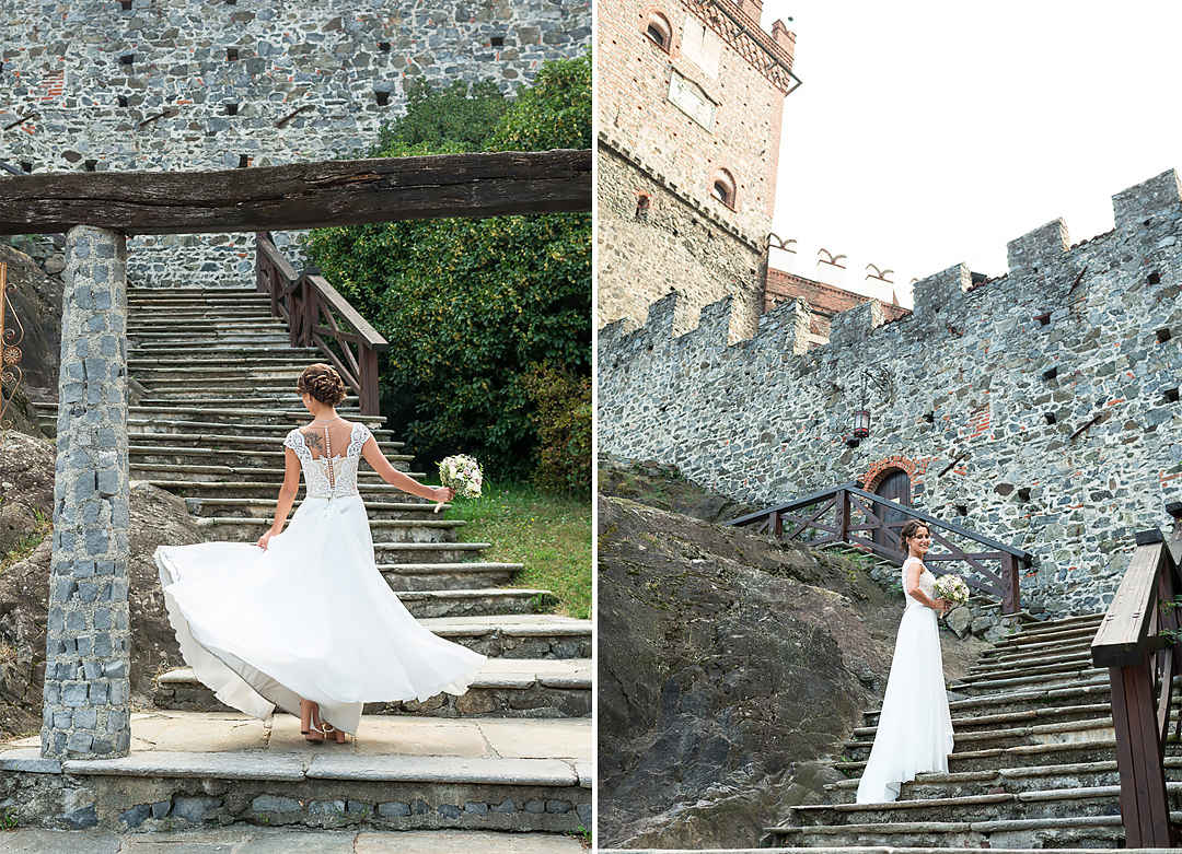 bride in medieval castle italy