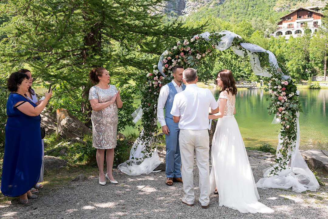 wedding ceremony alpine mountain lake